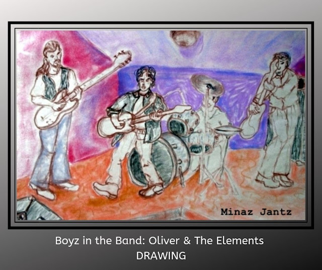 Boyz in the Band: Oliver & The Elements DRAWING by Minaz Jantz