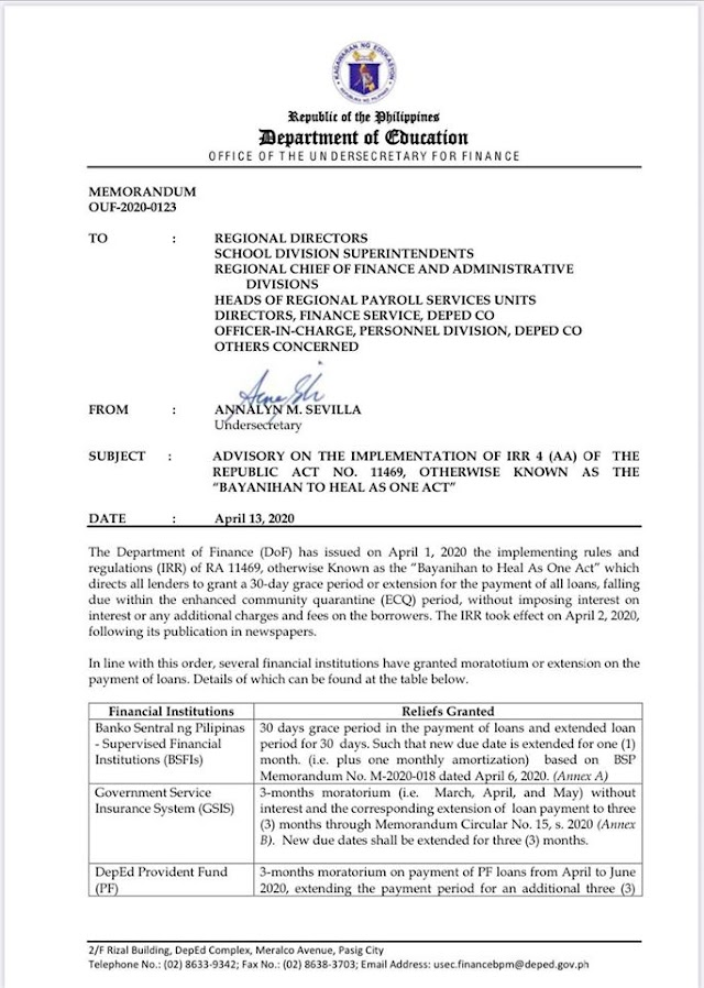 DepEd releases guidelines on Loan Payment Refund and moratorium