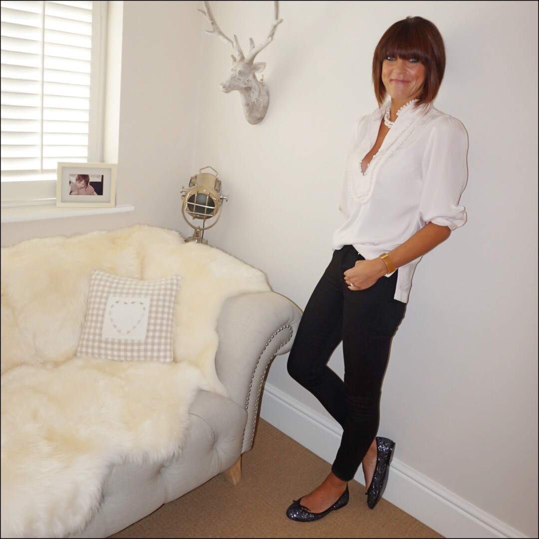 my midlife fashion, pearls, monsoon frill bib blouse, donna ida rixo skinny jeans, french sole henriette glitter ballet pumps
