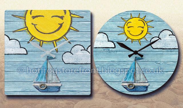 Photograph of 2 wall clocks Driftwood Beach design