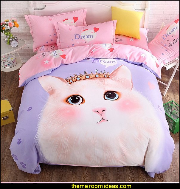 cartoon style cat printing Bedding