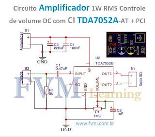 Circuito Amplificador 1W RMS com Controle de volume DC com CI TDA7052A/AT + PCI