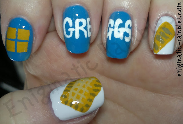 Greggs-the-Bakers-nail-art-nails-fast-food-pasty-sausage-roll-enigmatic-rambles