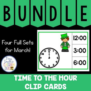 Time to the Hour Clip Cards March Bundle