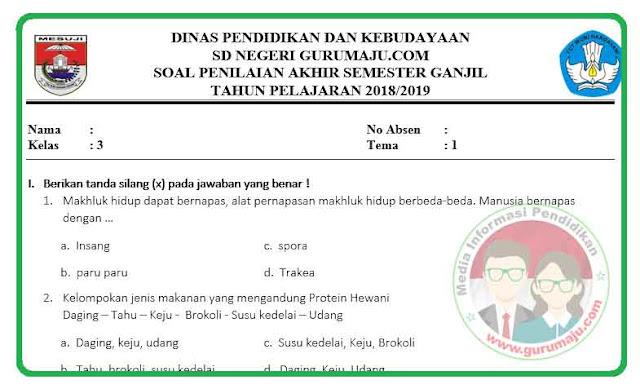 Soal UAS / PAS Kelas 3 Tema 1 Kurikulum 2013 Revisi 2018