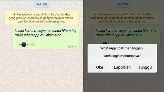 Tanda hitam membuat whatsapp error
