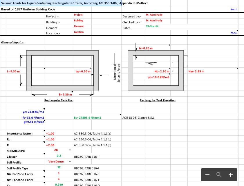 Seismic Loads for Liquid-Containing Rectangular RC Tank, According