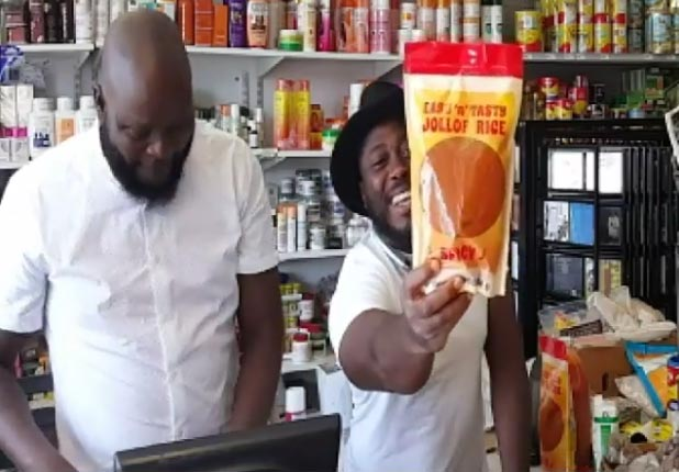 Check out this packaged Nigerian jollof rice sold in United States stores