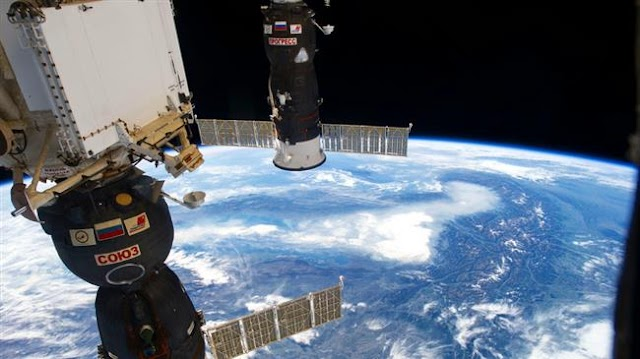 Progress resupply cargo ship docks with space station