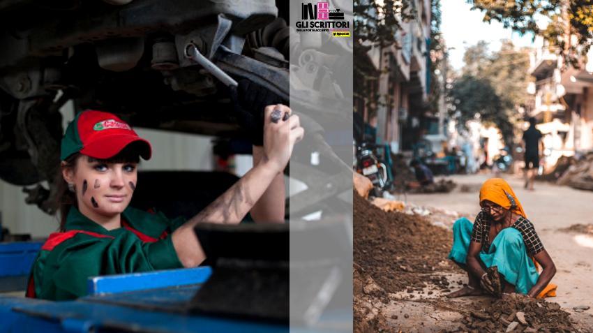 Donne operaie nelle fabbriche e sulle strade del mondo.
