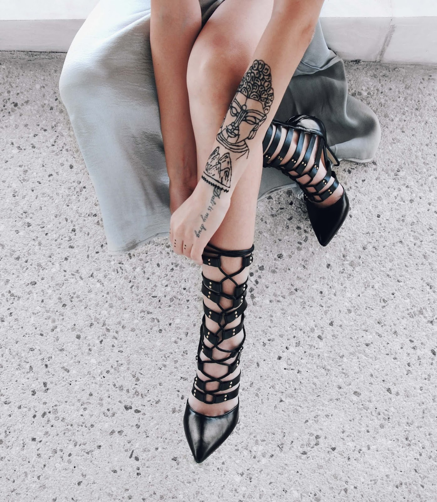 lace up heels tattoo buddha