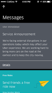 Service Announcement in Uber App