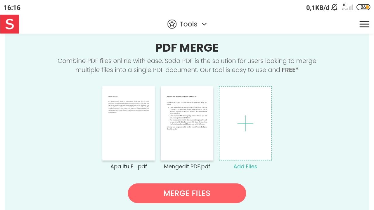 Preview FIle PDF yang Akan Digabungkan di Soda PDF