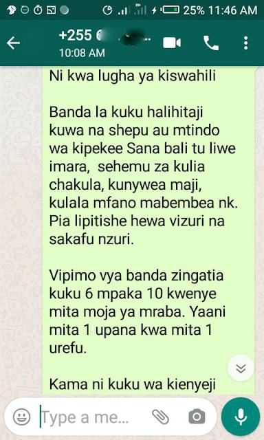 banda la kuku linatakiwa kuwa gharama kubwa sana?