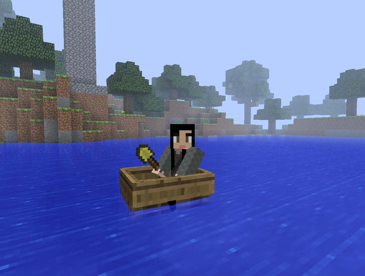 Minecraft boat and gold shovel