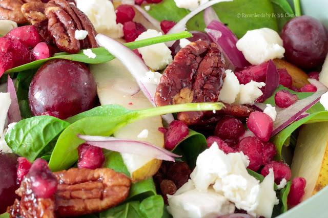 Ensalada Agridulce de Granada Peras y Nueces Pecanas de www.recomiendoblog.com