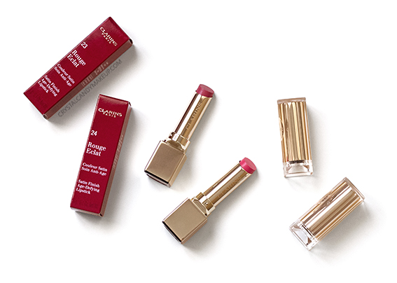 Clarins Instant Glow Rouge Eclat Lipsticks 23 Hot Rose 24 Pink Cherry Review Photos