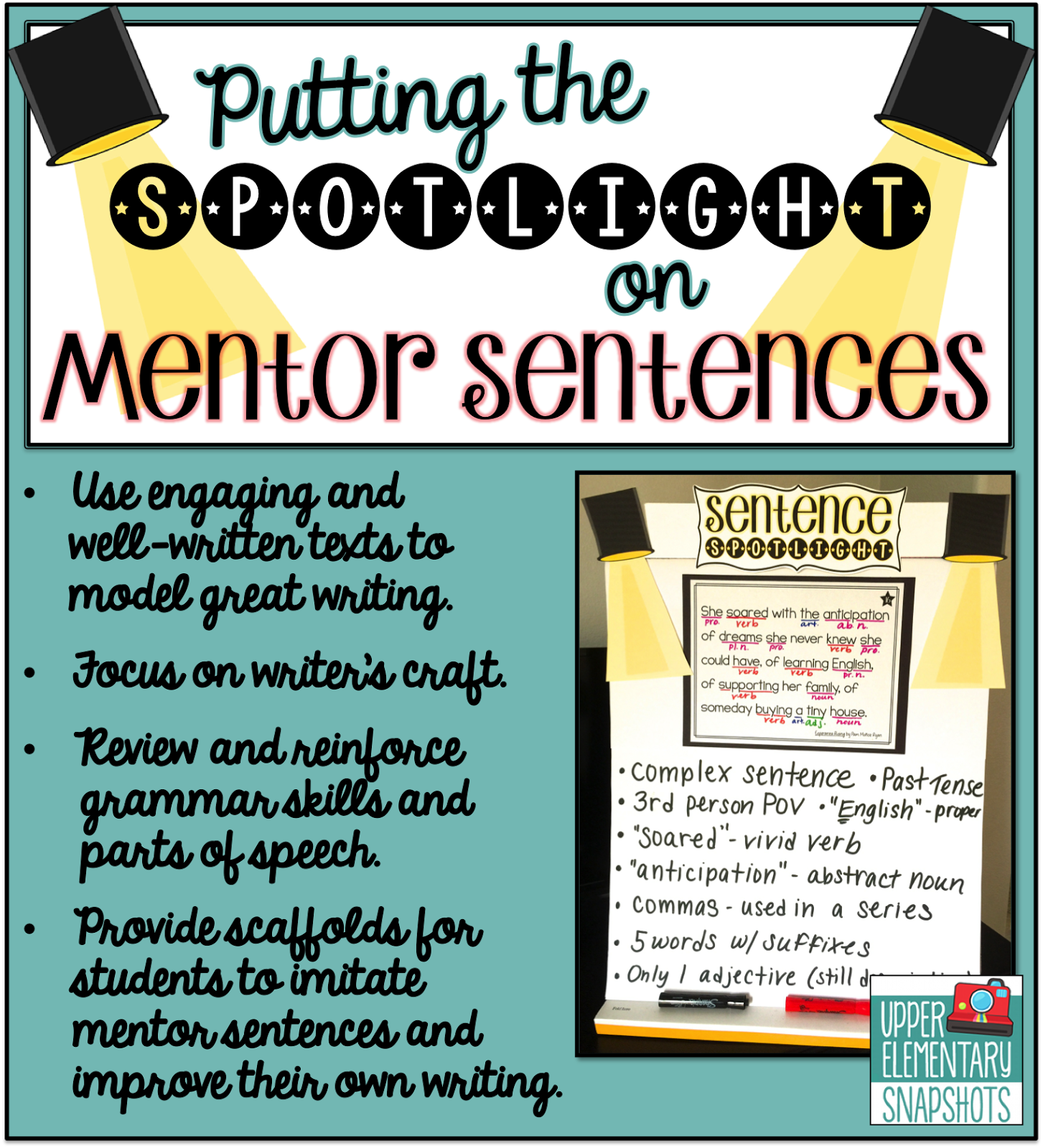 Putting the Spotlight on Mentor Sentences   Upper Elementary Snapshots [ 1600 x 1453 Pixel ]