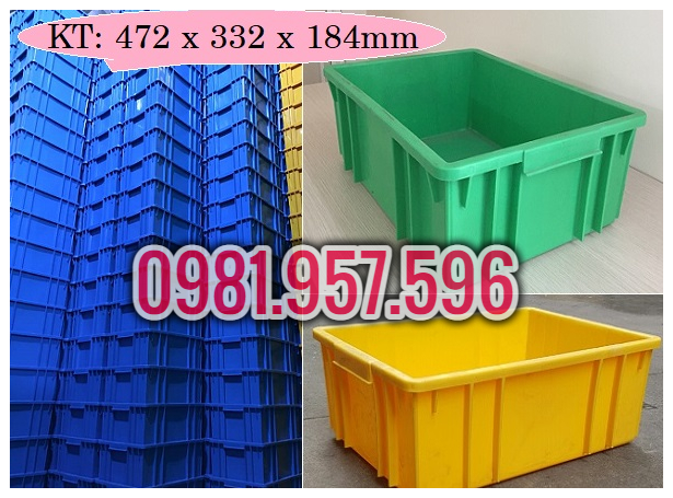 Hộp nhựa B3, hộp nhựa 472x332x184mm, hộp nhựa cao 18cm
