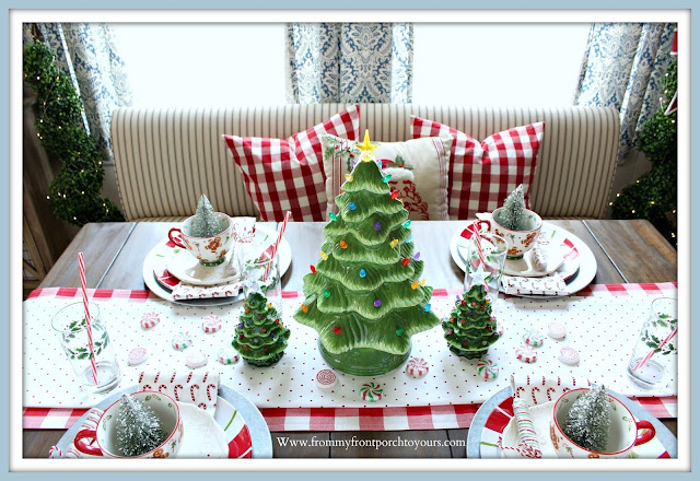 Cottage- Farmhouse -Christmas- Breakfast- Nook-Red-Buffalo-Check-Pillows-Banquestte-Seating-Ceramic-Christmas-Tree-From My Front Porch To Yours