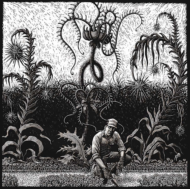 a Douglas Smith illustration of large creepy plants touching a gardener
