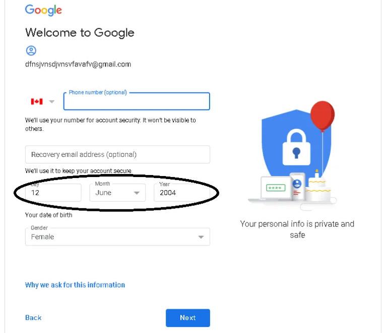 انشاء حساب Gmail تاريخ