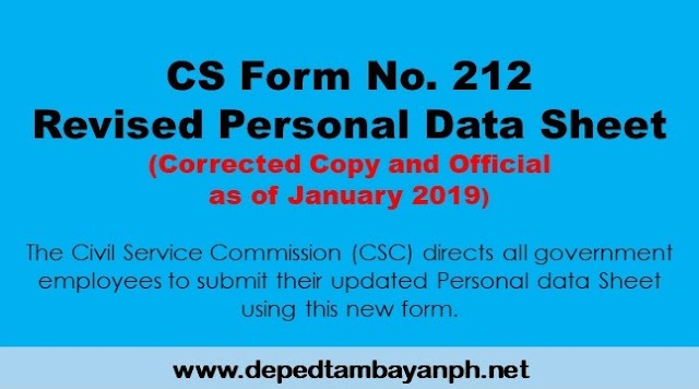 Official Revised CS Form No. 212 Revised Personal Data Sheet