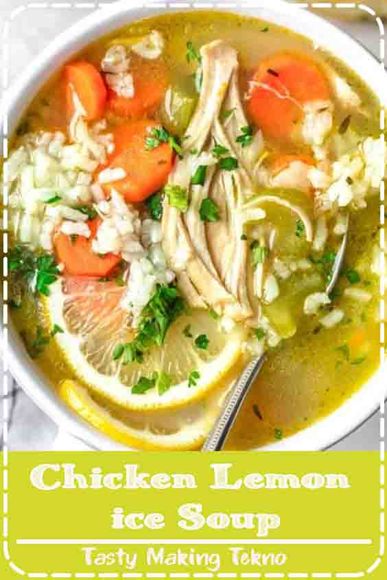 Similar to Chicken Noodle Soup, this Chicken Lemon Rice Soup is a cozy and comforting recipe full of hearty vegetables, chicken and a homemade lemony broth