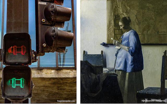 """Semáforos da Avenida Paulista homenageiam o MASP e a tela """"A Mulher de Azul"""", de Vermeer"""
