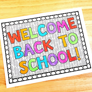 A back to school coloring page for elementary students.