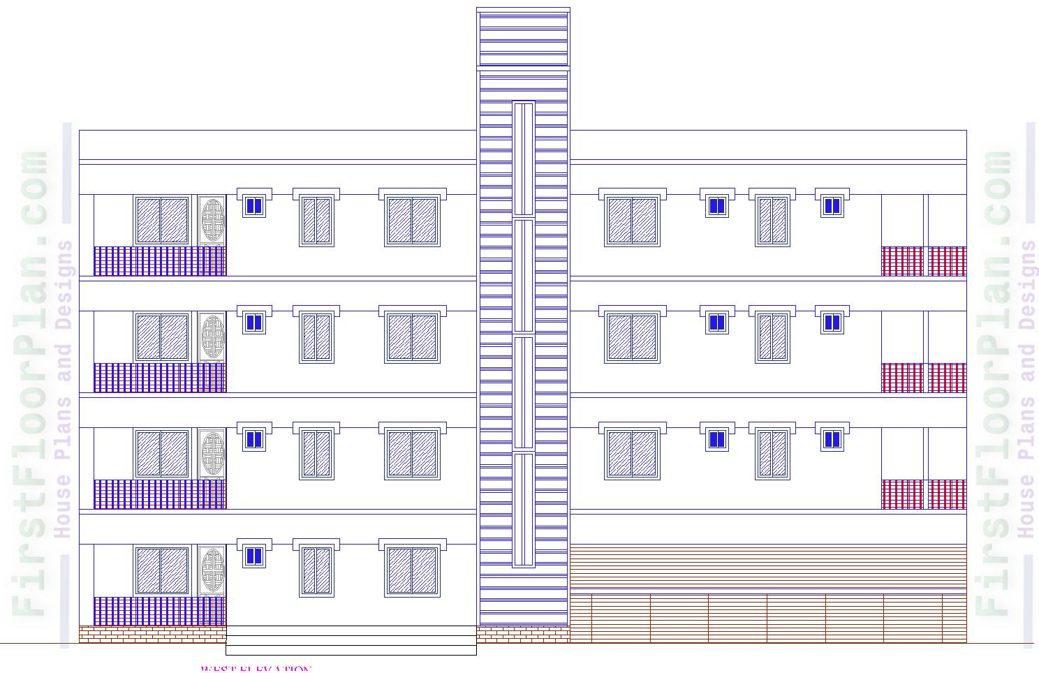 Four storey building front elevation Autocad file