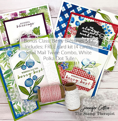 Stampin' Up! Berry Blessings and Berry Delightful Sale-A-Bration set/designer series paper.