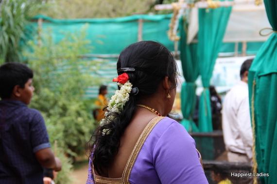 mysore mallige saree clad south indian woman