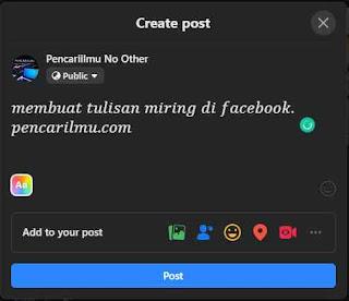 Cara Membuat Tulisan Miring di Facebook