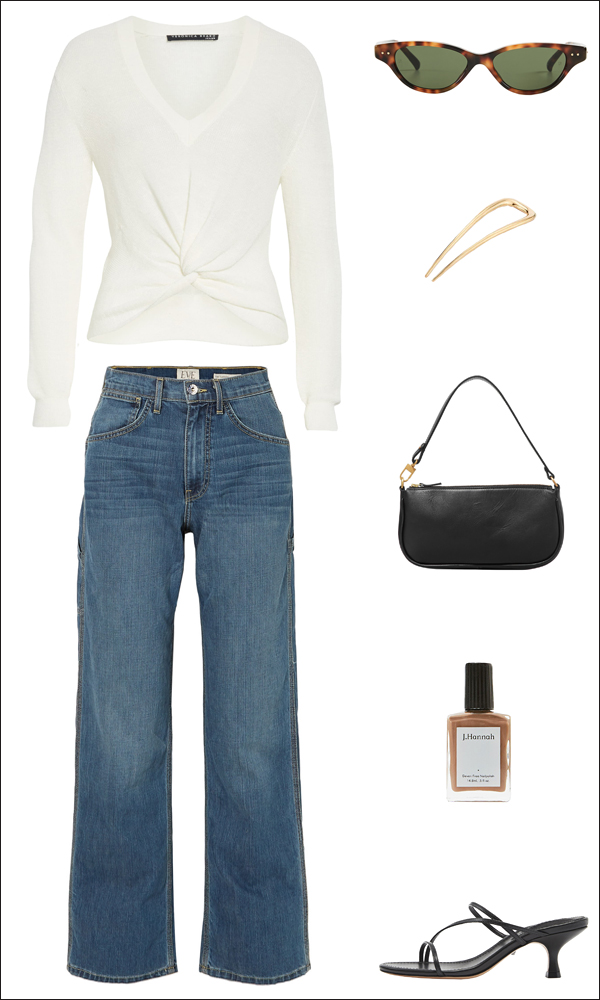 Stylish Everyday Spring Outfit: White Sweater, Gold Hair Pin, Jeans, '90s Bag, and Kitten Heel Sandals