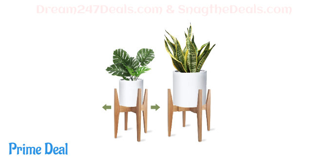 20% off X-cosrack Adjustable Plant Stand Mid Century Wood Modern Flower Potted Holder Rack for Indoor Outdoor, Fit 8'' to 12'' Planter(Plant and Pot Not Included)