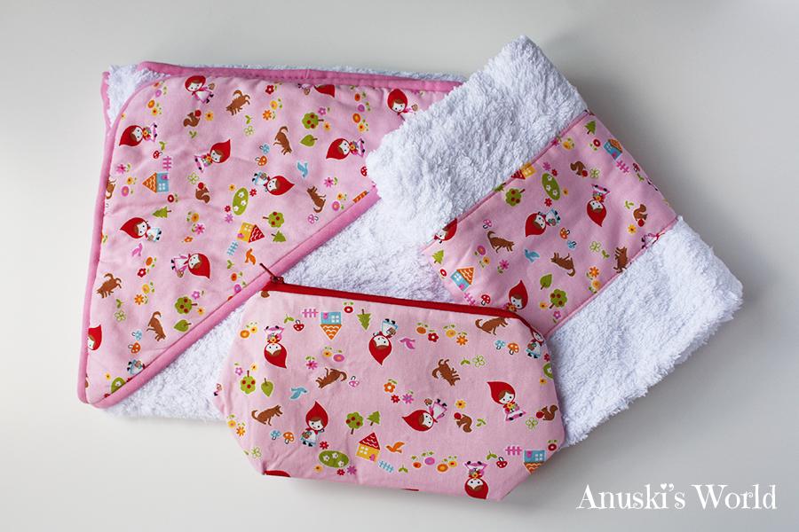 Capa toalla y neceser de ba o beb caperucita roja - Capas de bano bebe personalizadas ...