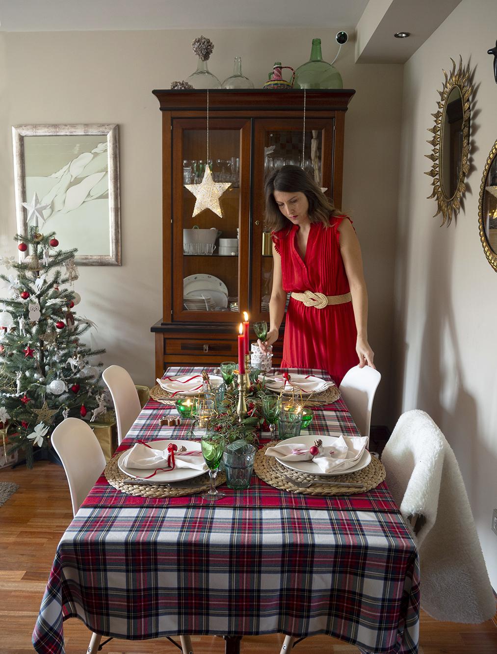 Nuestra mesa navideña en cuadros escoceses2