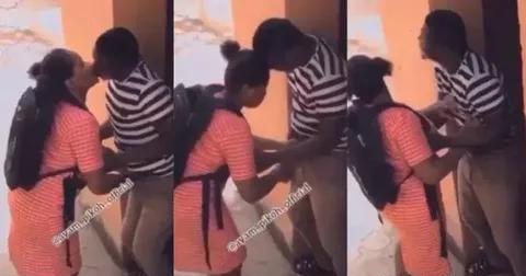 VIDEO: Male Teacher Caught on Camera Chopping and Kissing His WAEC Female Student