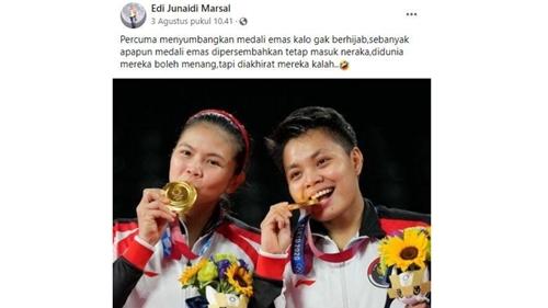 Parah, Netizen Ini Sebut Percuma Greysia-Apriyani Sumbang Medali Emas tapi Tak Berhijab: Tetap Masuk Neraka!