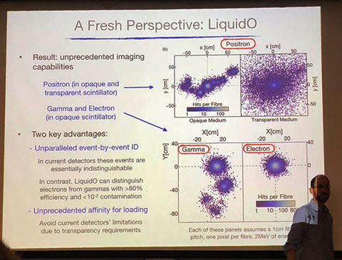 Professor Ochoa-Ricoux explains LiquidO benefits at UCI Physics Colloquia (Source: Palmia Observatory)