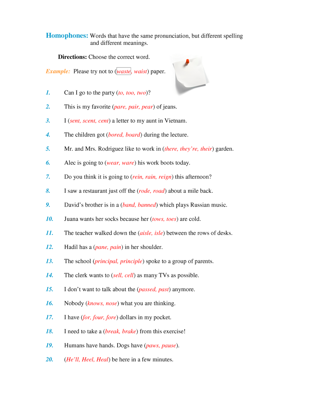 Homophones Amp Homonyms Worksheet