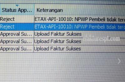 e-Faktur Reject Error ETAX-API-10010 NPWP Pembeli Tidak Terdaftar di DJP