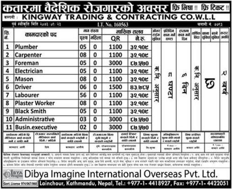 Free Visa & Free Ticket, Jobs For Nepali In Qatar, Salary -Rs.87,570/