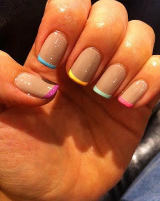 uñas gelish francesa de colores