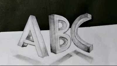 Words 3d drawing, ABC Drawing, Two point perspectives drawing, how to draw 3d words from Graphite pencils, online drawing classes, 3d drawing tutorial, drawing for kids, easy to draw
