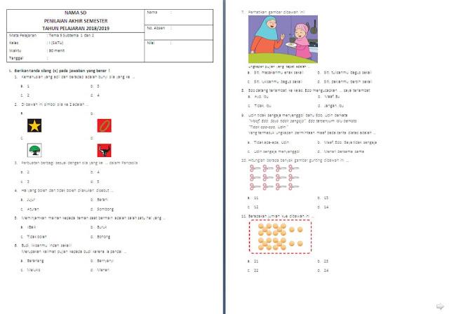 Soal UTS Kelas 1 SD/MI: Tema 5 Subtema 1 dan 2