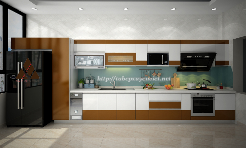 Thiết kế tủ bếp chữ i cho nhà bếp rộng rãi