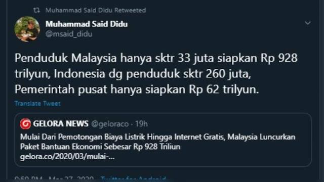 Said Didu Bandingkan Anggaran Indonesia dan Malaysia dalam Tangani Corona