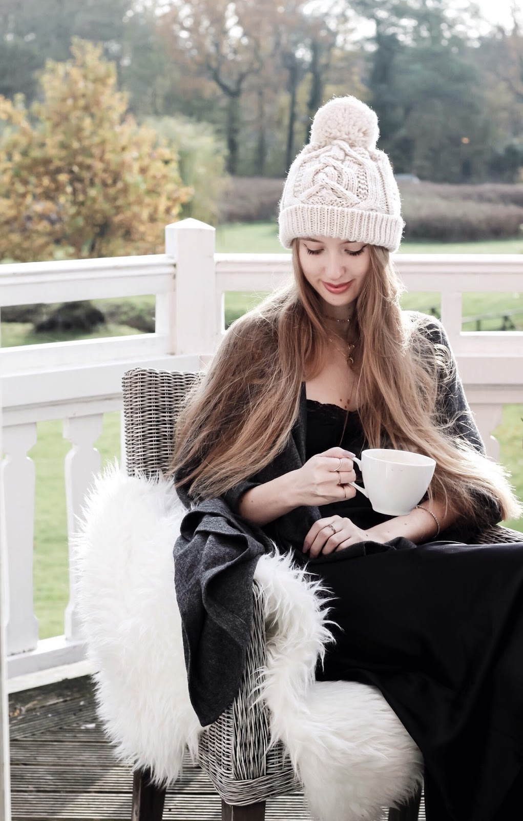 Bonsoir of London Luxury Cashmere Balcony Photoshoot